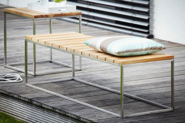 """Outdoormöbel """"Lux"""" aus Edelstahl und Teak"""