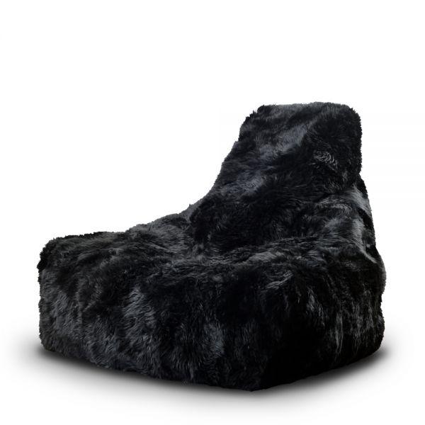 Sitzsack: b-bag Mighty-b, Schafsfell, schwarz