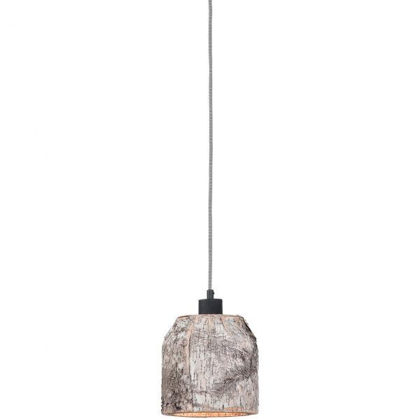 Pendelleuchte mit Lampenschirm aus Birkenbaumrinde