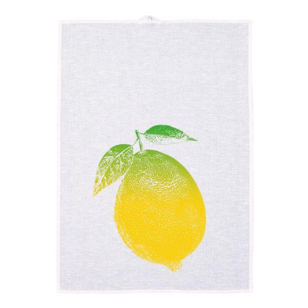 Geschirrtuch Halbleinen. Motiv: Zitrone