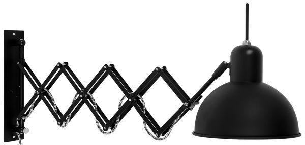 Wandlampe Aberdeen mit Scherenarm, schwarz