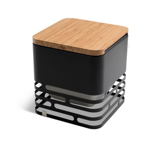Höfats Cube - Feuerkorb, Grill und Hocker. Auflage aus Bambus