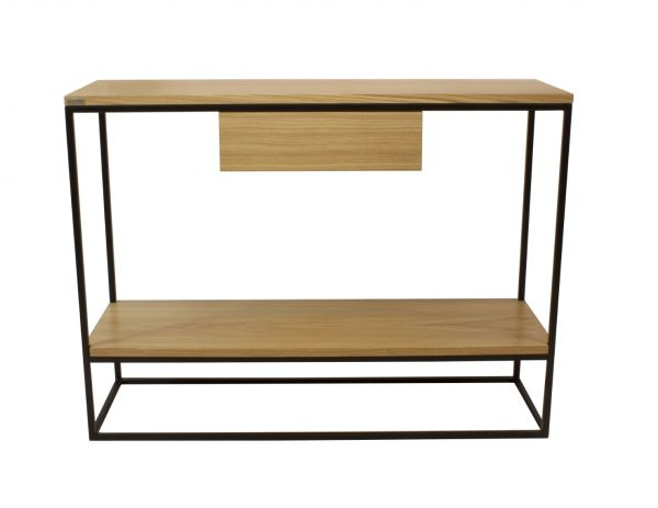 Skinny mit Ablage und Schublade, schwarz, Holz