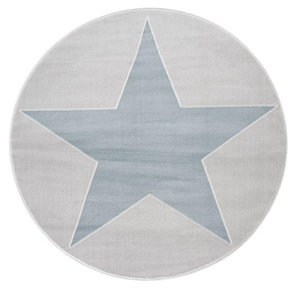 """Teppich """"shootingstar"""", rund, grau/blau"""