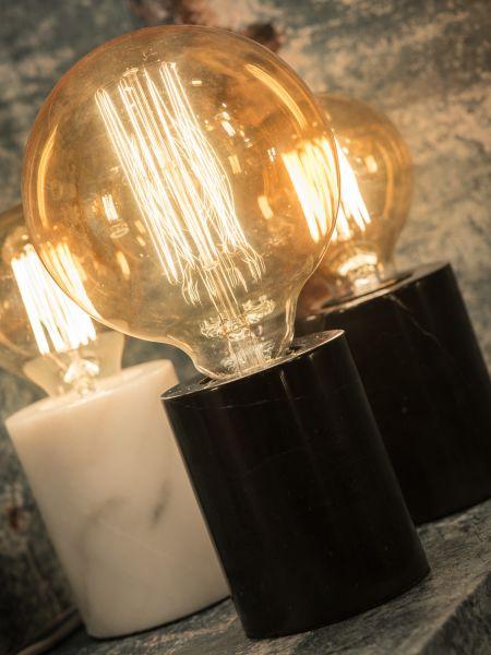 Tischlampe Athen. Marmorsockel schwarz oder weiß, Retro Leuchtmittel
